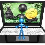 Euro Coin On  Laptop — Stock Photo #42355963