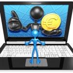 Euro Coin On  Laptop — Stock Photo #42356467