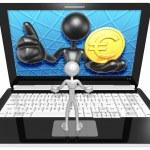 Euro Coin On  Laptop — Stock Photo #42356489