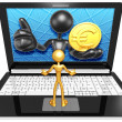 Euro Coin On Laptop — Stock Photo #42356511