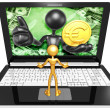 Euro Coin On Laptop — Stock Photo #42356529
