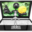 Euro Coin On Laptop — Stock Photo #42356553