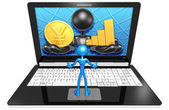 Yen and Graph On  Laptop — Stock Photo