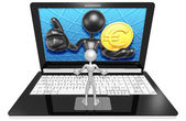 Euro Coin On  Laptop — Foto Stock