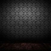Dark interior room with baroque wallpaper. — Stock Photo