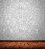 Grunge interior room with retro wallpaper. — Stock Photo
