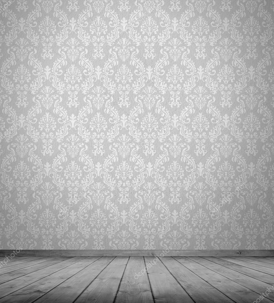 Witte lege interieur van vintage kamer zonder plafond van witte muur en houten vloer stockfoto - Witte muur kamer ...