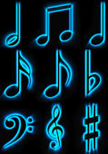 Beautiful glowing musical characters — Stockfoto