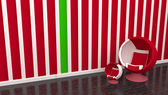Red chair with green line — Stockfoto