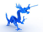 Blue dragon on a white background — Stock Photo