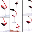 Red wine filling a glass — Stock Photo