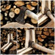Four views of an iron axe chopping wood logs — Stock Photo