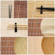 Set of six chopstick and bamboo images, useful as business cards — Stock Photo