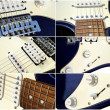 Set of six view an old style electric guitar — Stock Photo