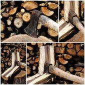 Cztery widoki żelaza, siekiera, siekanie kłody drewna — Zdjęcie stockowe