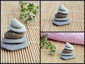 Set of three images of zen stones on bamboo — Stock Photo