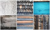 Collage of six wooden texture as background — Stock Photo