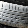 White car tires as background - Stock Photo