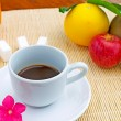 Stock Photo: Fruits and coffee
