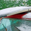 Stock Photo: Surfboard on ice
