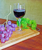 Grape, wine and leaves — Stock Photo