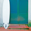 Surfboard in the porch — Stock Photo