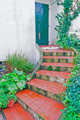 Entrance door and stairs — Stock Photo