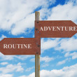 Stock Photo: Adventure vs routine