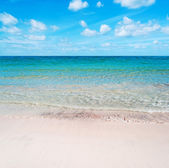 Pink sand under a cloudy sky — Stock Photo