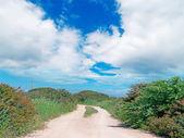 Nuvens brancas e estrada do país — Foto Stock