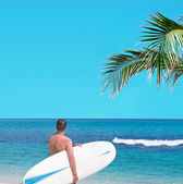 Surfer and palm — Stock Photo