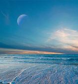 Moon at dusk — Stock Photo
