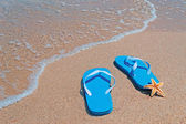 Starfish and flip-flops — Stockfoto