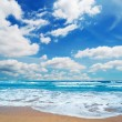 Stock Photo: Frothy shore and scenic clouds