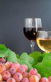 Grape and two glasses — Stock Photo