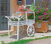 Wooden cart with flowers — Stock Photo