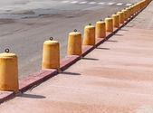 Yellow cement pylons — Stock Photo