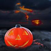 Pumpkin under a dramatic sky — Stock Photo