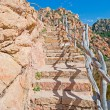 Rocky stair and blue sky — Stock Photo
