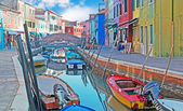 Colorful canal in Burano — Stock Photo