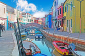Colorful canal in Burano — Foto de Stock