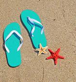 Aqua flip flops — ストック写真