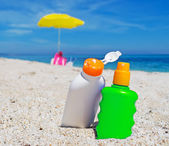 Suntan lotion bottles — Stock Photo