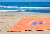 Sea goggles and towel — Stockfoto