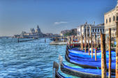 Blue gondolas — Stock Photo