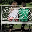 Stock Video: Garden bench