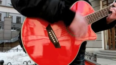 Red guitar — Stock Video