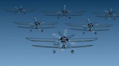 Seis biplanos — Vídeo stock
