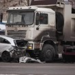 Stock Video: Collision of truck and car