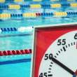 Sports Stopwatch in the Swimming pool — Stock Video